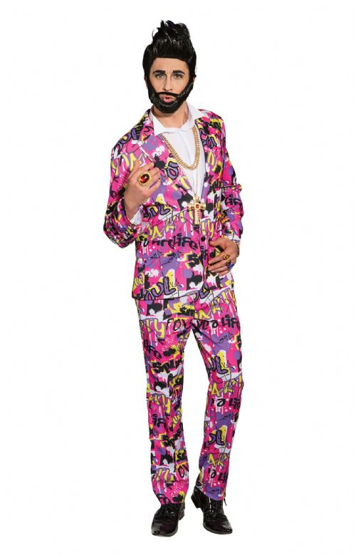 Mens Cool Suit Costume Stag Party Grafitti Fancy Dress Outfit